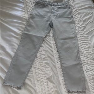 High waisted ankle Distressed skinny jeans